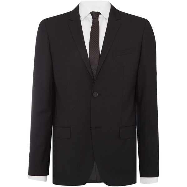 Calvin Klein Tate Wool Suit Jacket ($250) ❤ liked on Polyvore featuring men's fashion, men's clothing, men's outerwear, men's jackets, mens wool outerwear, mens wool jacket, mens wool blazer jacket, calvin klein men's jacket and mens blazer jacket