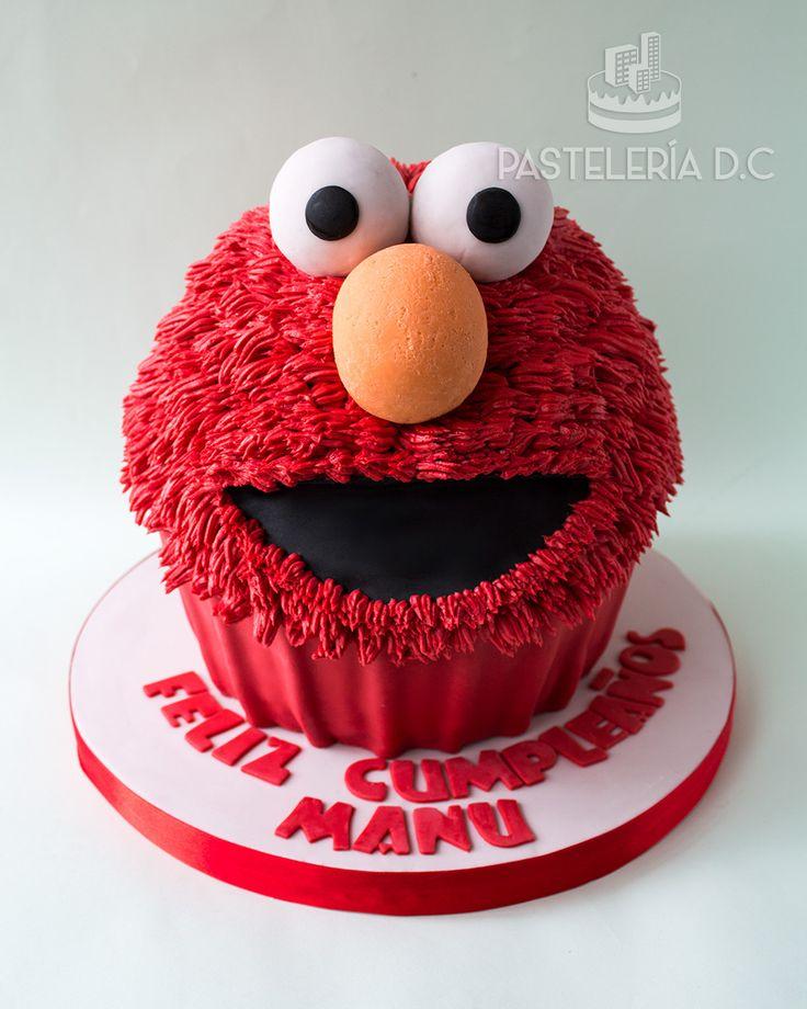 Torta esculpida tipo cupcake gigante de Elmo / Elmo Giant cupcake - sculpted cake.