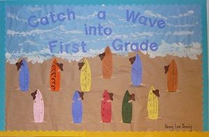 This back to school bulletin board was created to welcome students on the first day of class.