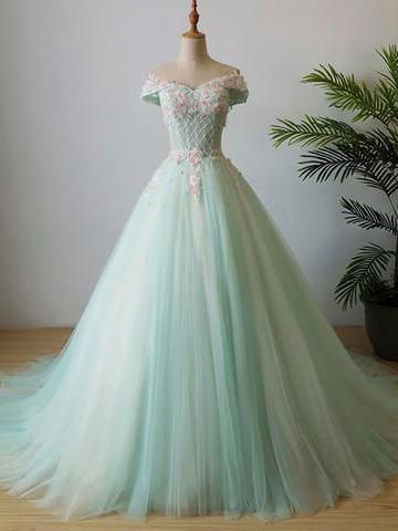 6b90ea95ca1 Chic Mint Prom Dress A-line Off Shoulder Applique Long Prom Dress Evening  Dress AMY013