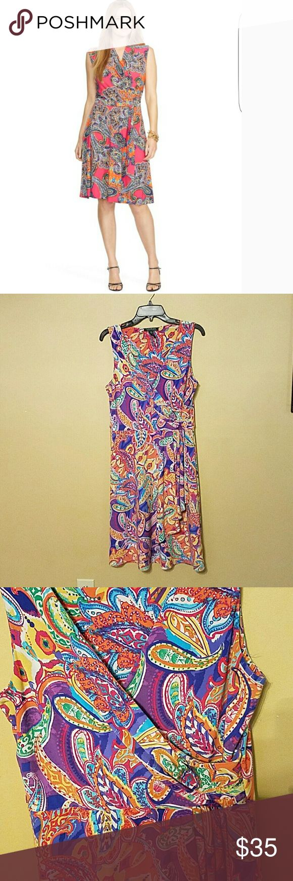 *BOGO* Lauren Ralph Lauren Paisley Dress Lauren Ralph Lauren Paisley Dress  Purple, Yellow, Blue, Pink, Orange Draped front Size M runs large ***BOGO THIS WEEKEND ONLY. ENDS MARCH 12. ADD 2 MARKED BOGO ITEMS TO A BUNDLE AND ONLY PAY FOR THE HIGHER PRICED ITEM*** Lauren Ralph Lauren Dresses