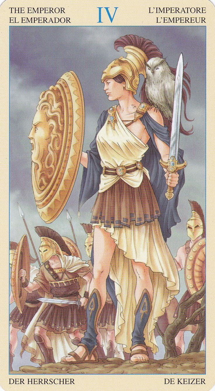 ✯ Athena is very adequately paired with the Major Arcane of Emperor in Universal Goddess Tarot + The card of Emperor is the strongest male energy in Tarot :: Universal Goddess Tarot by Maria Caratti & Antonella Platano ✯