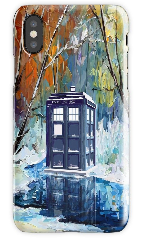 Blue Phone booth with winter views iPhone 4, 5, 6, 7, 8, X Cases & Skins #Case #CellPhone #iPhonecase #hardcase #DoctorWho #tardis #britishphonebox #theDoctorWho #whovian #badwolf #werewolf #autumn #snowy #spring #summer #parody #TVseries #abstract #VanGogh