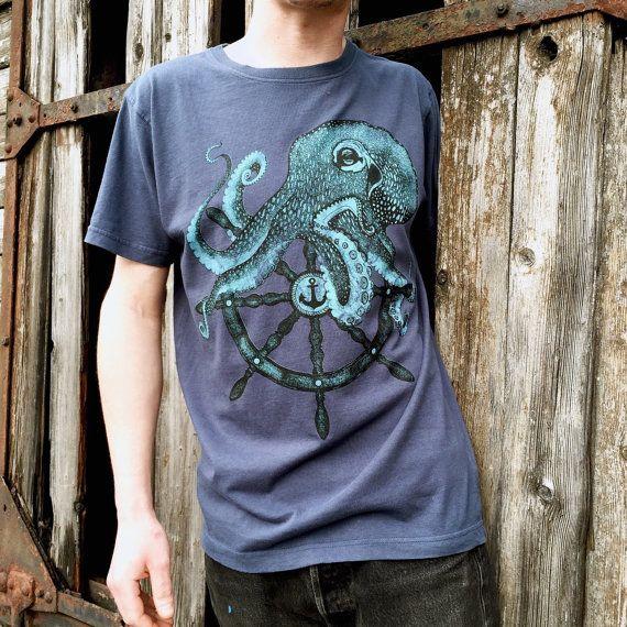 Men's vintage denim blue t-shirt with octopus print. screenprinting on cotton