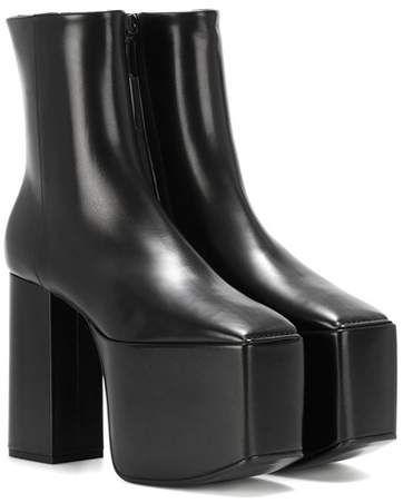 475466f98d58 Leather platform ankle boots  vintage inspired platform Platform Ankle Boots