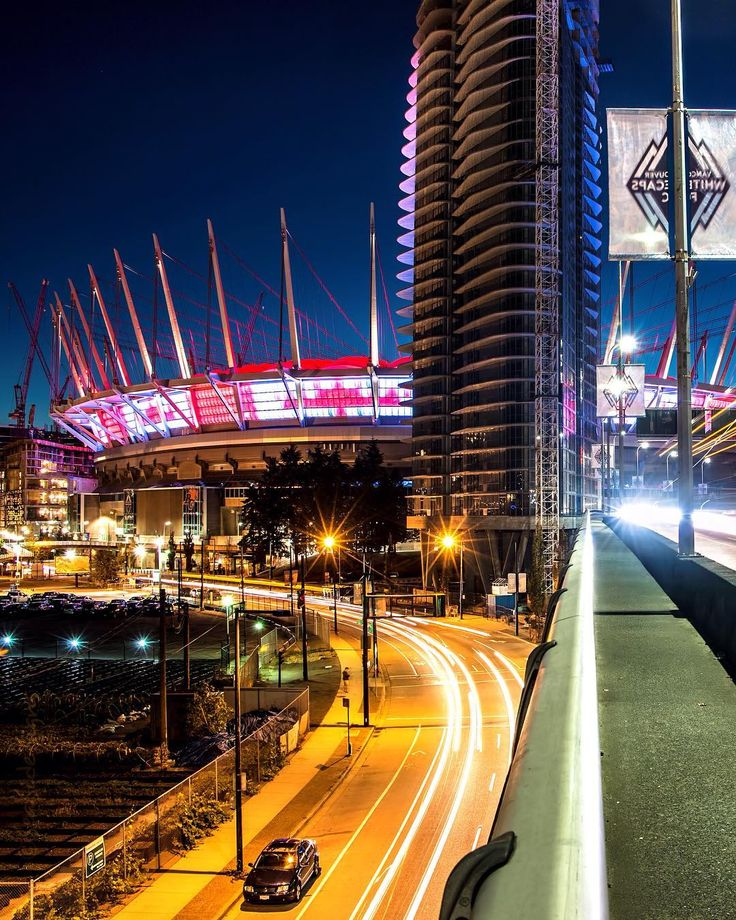 """Scores of Colour The Canadian flag proudly displayed on the """"northern lights"""" at @BCPlaceStadium (home of the @BCLions_Official and @VancouverWhitecaps ). @WorldCupHockey 2016 kicked off today with Canada playing the Czech Republic. Go Canada Go. Captured in Vancouver British Columbia Canada September 14 2016"""