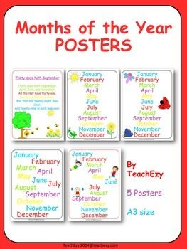 Classroom Posters - Months of the Year: A choice of 4 posters to display the months of the year. Please note all 4 are similar. Includes a poster for the Months of the Year poem.  These are A3 size but can be printed smaller. Just print, laminate and hang.  Please see preview for FULL resource before purchasing.