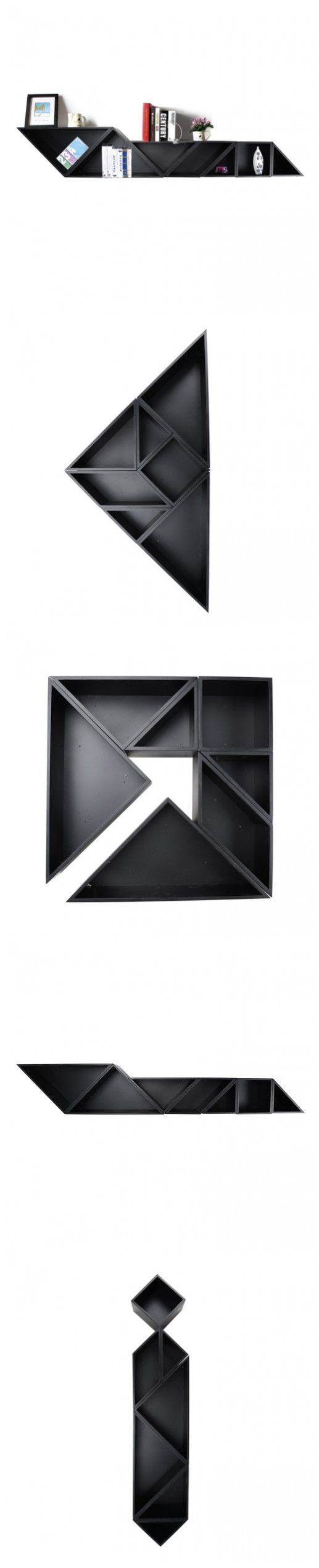 """I am seriously impressed!! """"Tangram"""" Wooden Display Shelf: we can select different Tangram style shapes for our home  http://www.zosomart.com/home-living/furniture/tangram-wooden-wall-shelf-wooden-storage-display-rack-set-of-7-black.html"""