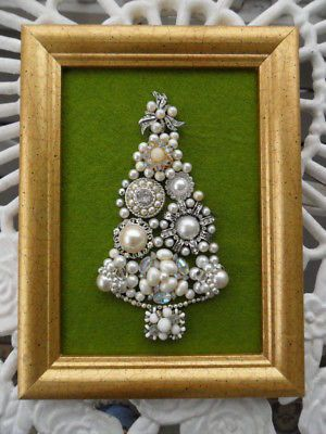 **VINTAGE JEWELRY 8 X 6 Framed Easel Back CHRISTMAS TREE HANDMADE**