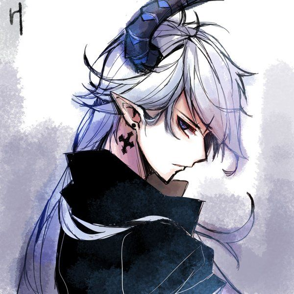 Demon Boy White Silver Hair And Horn