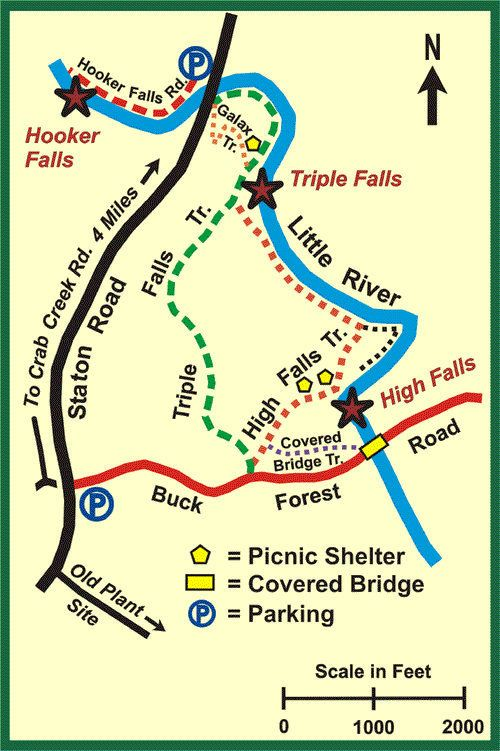 DuPont State Forest Waterfall Hike Map