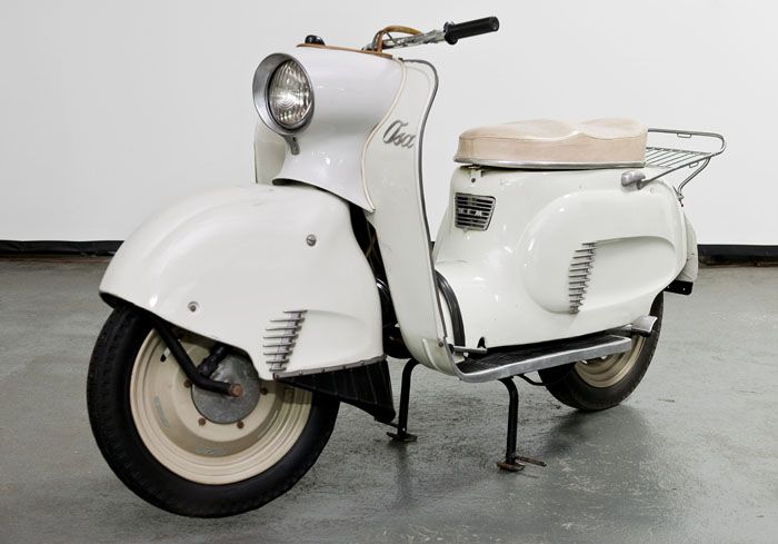 "Krzysztof Meisner, ""Osa M50"", scooter, co-designers: Krzysztof Brun, Jerzy Jankowski and Tadeusz Mathia, produced by the Warsaw Motorcycle Factory, 1959, collections of the Motorization Museum, a branch of the Museum of Technology in Warsaw"