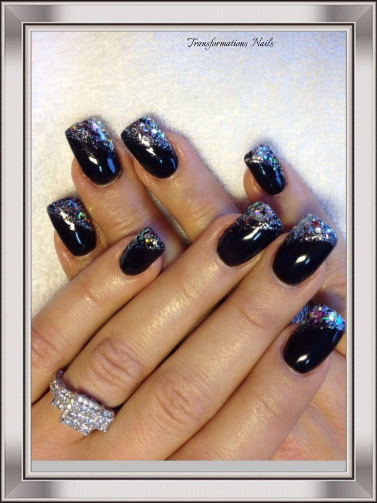 #nails by #transformations Nails. #black nails #silver nails #freehand  #nail art #funky nail  #sparkle nail shine nail.