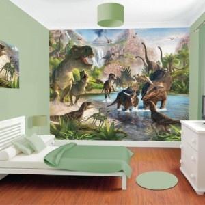 Laat de kinderkamer tot leven komen met deze weidse panorama vol gevaarlijke dinosaurussen. Het is niet alleen origineel om te decoreren, het is ook zeer educatief.