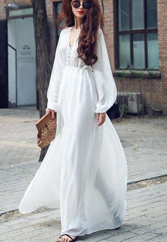 Shopo.in : Buy Mod Fashions Partywear Solid White Maxi Dress online at best price in Bangalore, India