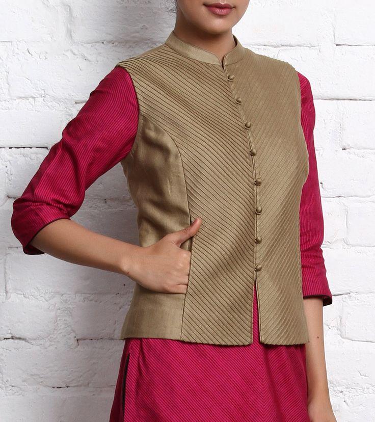 Beige Cotton Tussar Nehru Jacket