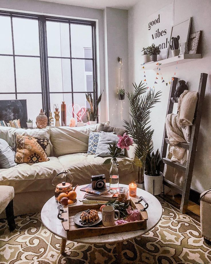 living room | home decor | bohemian | grid glass window | beige couch | indoor p…