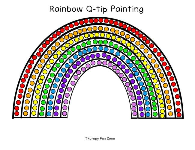 Rainbow Q Tip Painting Templates Q Tip Painting Painting