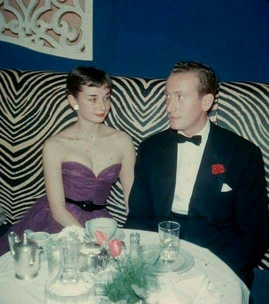 """Audrey and her fiancé James Hanson at the famous night club """"El Morocco"""" in New York, May 1952"""