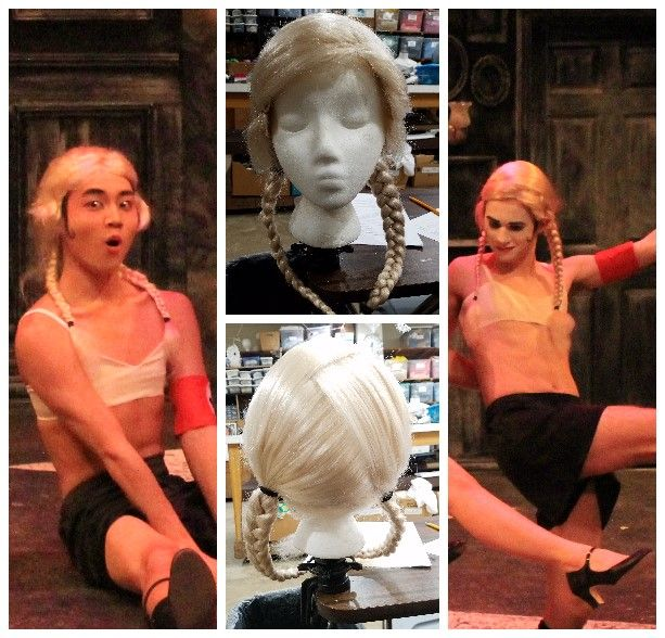 """Gustavus Adolphus College February 2018 Kander & Ebb's """"Cabaret"""" Wig Used in the """"Nazi Kick Line"""" by the Emcee to Resemble the Hitler Youth"""