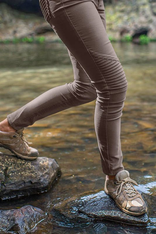 Stretchy stylish nylon skinny pant that is sustainable and a perfect transitional piece from casual-wear to outdoor exploration.