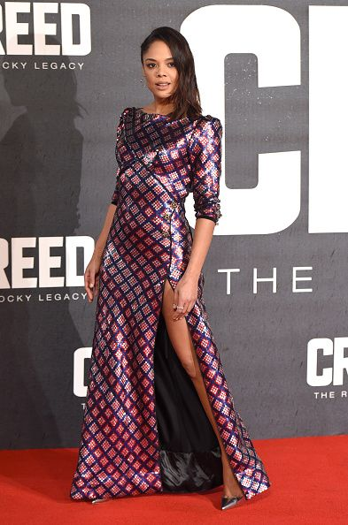 Fabulously Spotted: Tessa Thompson Wearing Marc Jacobs - 2016 'Creed' London Premiere - http://www.becauseiamfabulous.com/2016/01/15/fabulously-spotted-tessa-thompson-wearing-marc-jacobs-2016-creed-londo-premiere/