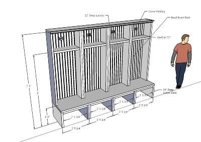 Mudroom lockers 3d warehouse laundryroom pinterest for Mudroom bench depth