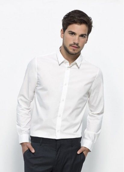Boss men's business button-up shirt in white. #fairtrade and #organiccotton. Made in Bangladesh.