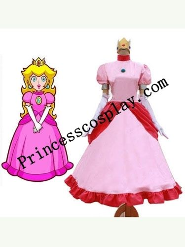 Princess Peach Cosplay Party Dress Costume From Super Mario Bros Custom Any Size