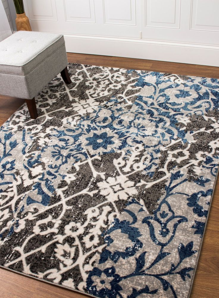 Transitional Rug Gray & Blue High Quality Carpet Nylon