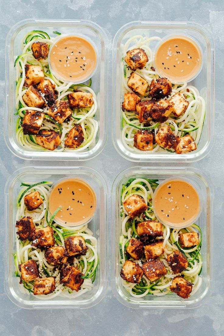 Crispy sesame tofu with zucchini noodles is the perfect healthy, vegetarian meal prep lunch recipe that is low carb, vegan and gluten free too. These easy meal prep lunches are served with crispy sesame tofu on a bed of zucchini noodles and a delicious peanut sauce to go with! Healthy lunch recipe on the go! #Goingvegetarian