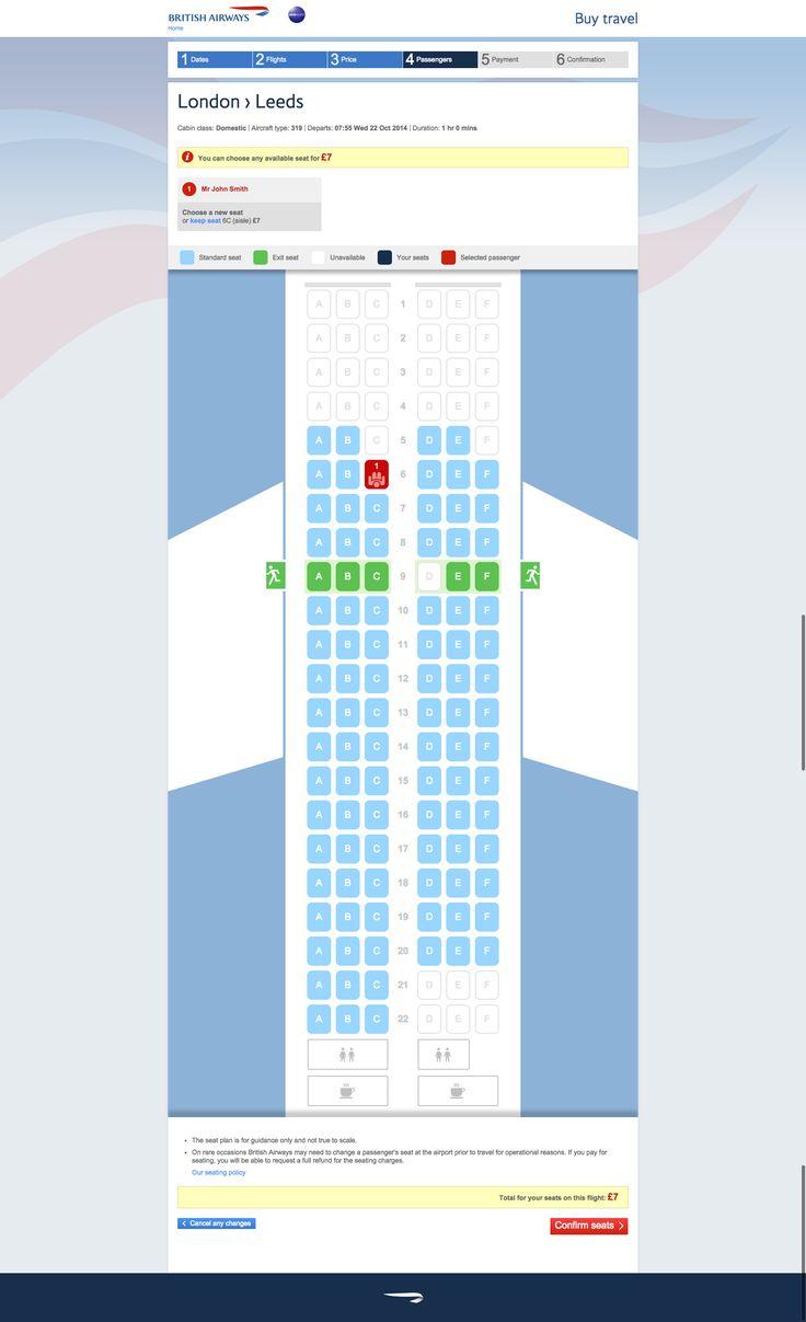 British airways seat selection - flights