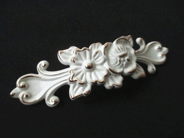 3 4 French Country White Dresser Drawer Pulls Handles S Golden Silver Rose Flower