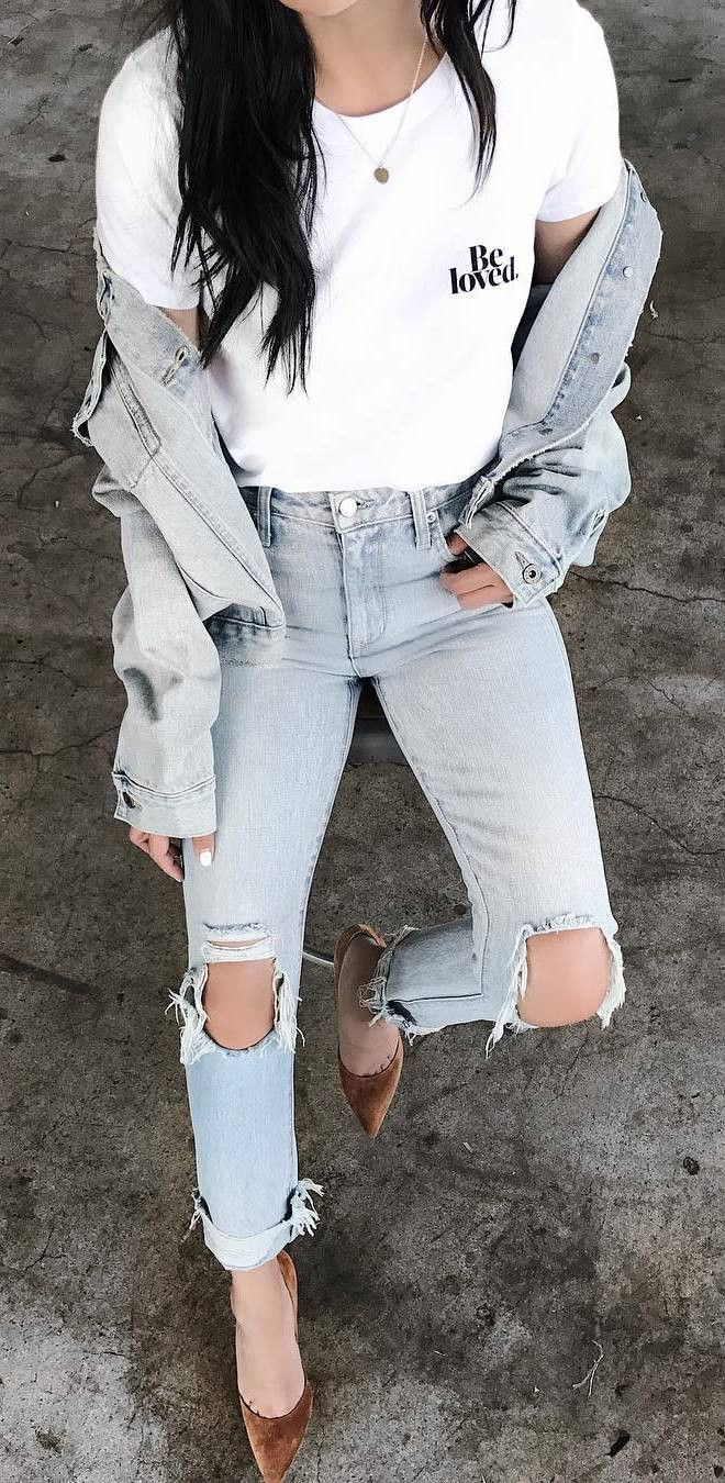 double denim outfit / jacket + ripped jeans + top + shoes