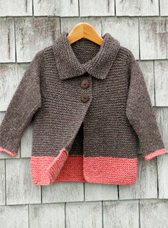 can adjust this for a boy for sure! blue or green instead of pink?    Sawtelle cardigan for girls 2-12 is made entirely of knit sts and the only seaming is at the shoulders - free pattern; thanks!