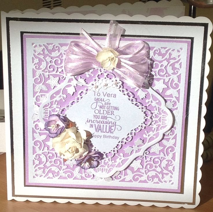 Birthday card made with tattered lace corner dies and couture summer blossom dies