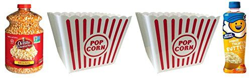 Traditional 4-Piece Popcorn Movie Night Bundle includes 45-Ounce Jar Orville Redenbacher Original Gourmet Popping Corn, 13.75-Ounce bottle Kernel Seasons Movie Theater Butter Topping, and Two Large Popcorn Tubs, ,