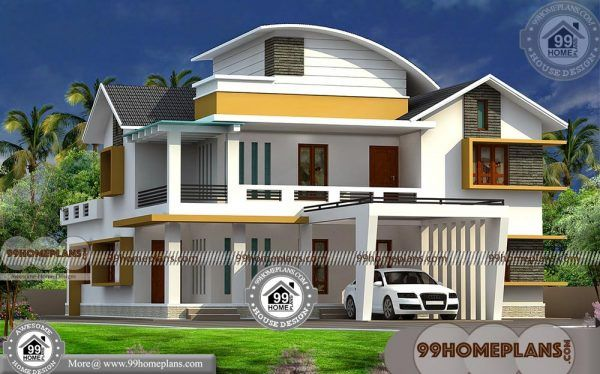 Contemporary Kerala Homes With Double Floor Stylish House Designs Contemporary House Plans Kerala Houses House Plans With Pictures