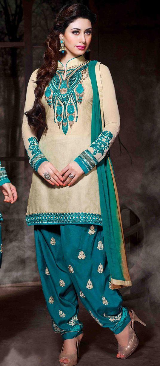 USD 35.77 Cream Cotton Silk Punjabi Suit 48017