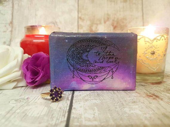 Luxury Double Ring Box Moon Back Quote Purple Wedding Ring Box