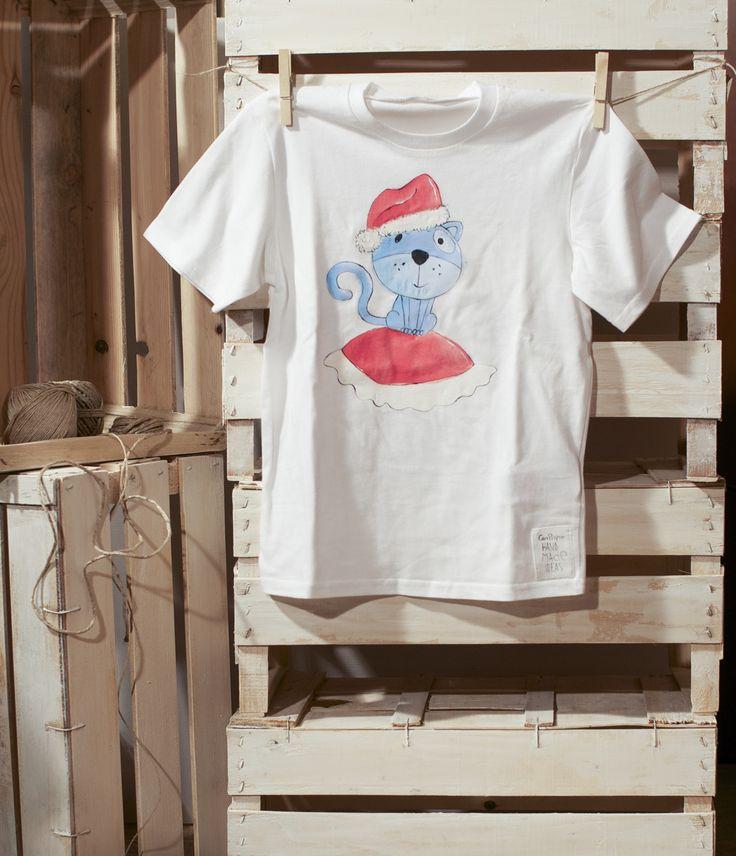 Tshirt Natale dipinta a mano per bambine e bambini : Moda bambina di canpigro