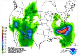 NOAAによる週前半の降水予想。サウスカロライナ州に大雨の予想が出ている。