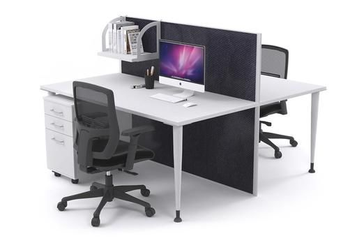 2 Person Workstation Desks With Acoustic Screens White Leg Horizon. The 2 person Horizon workstation is a modern office workstation with a 1200mm noise-cancelling screen separating work areas. This workstation has white powder-coated aluminium legs and a white aluminium screen frame.