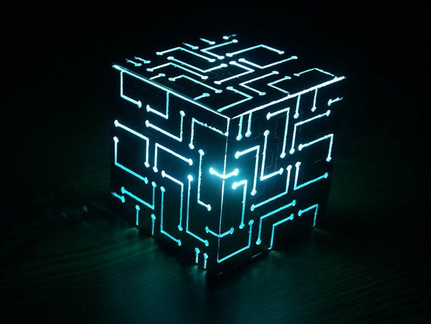 This Is An Alien Cube I Recently Designed. Kind Of Has A Tron Feel To