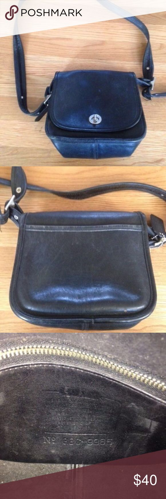 Vintage Coach Legacy Trail Saddle bag- black Great condition- see photos for details. Coach Bags Crossbody Bags