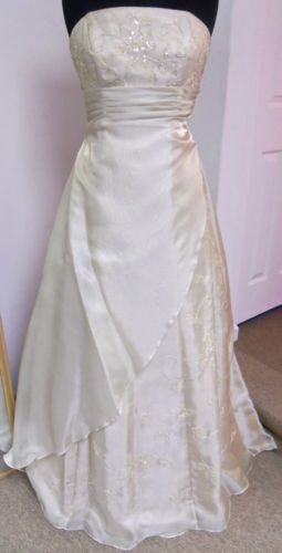NWT Alfred Angelo 3776 Long Dress Prom Formal Pageant Gold Dust Size 10 80% OFF
