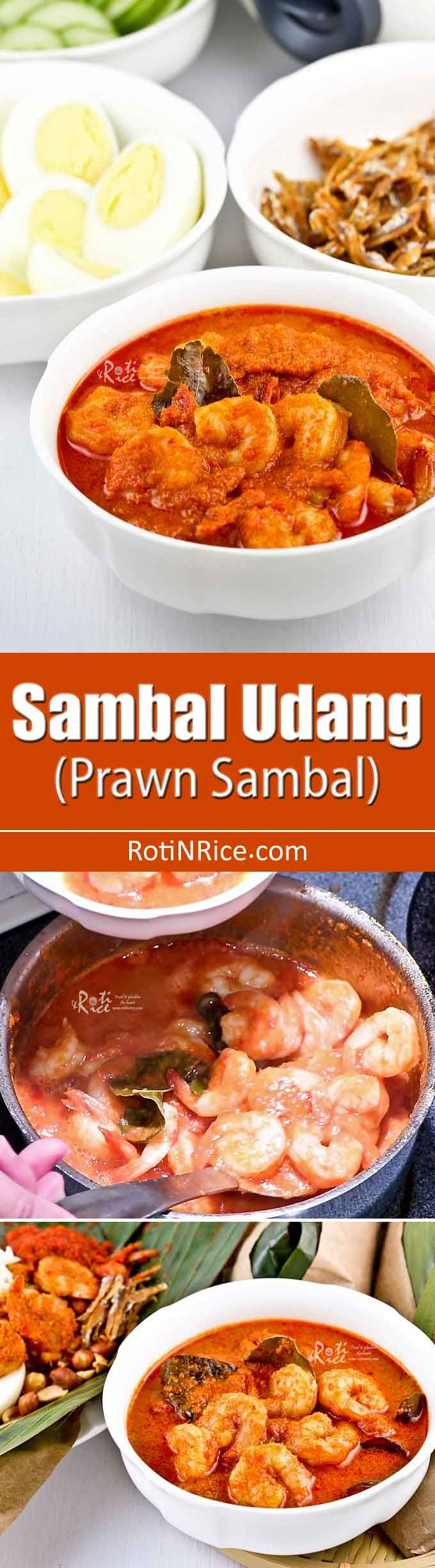 Sambal Udang (Prawn Sambal) is a fiery and piquant side dish often served as an accompaniment to perk up any rice meal. A must-try for the spicy food fan. | MalaysianChineseKitchen.com