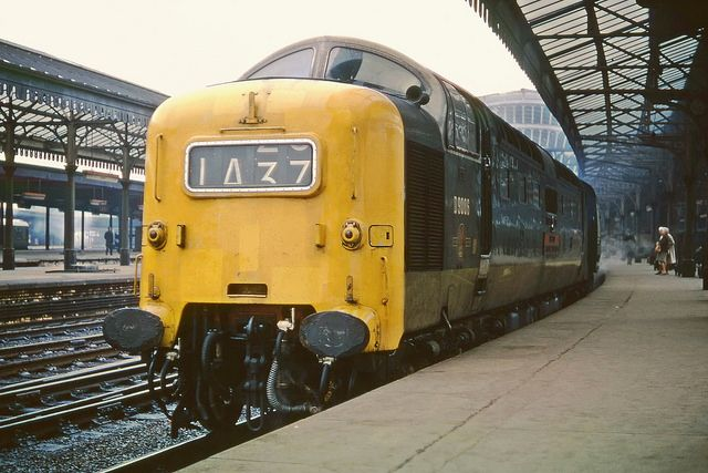Deltic D9006 'The Fife and Forfar Yeomanry' at York on the up Heart Of Midlothian 1A37 14.00 Edinburgh - Kings Cross on 30th April 1968.