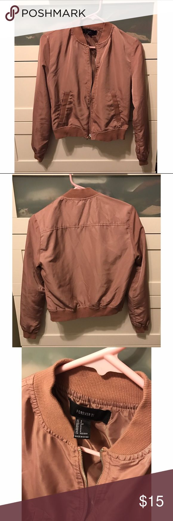 Forever 21 Bomber Jacket Used once, great condition. Lightweight bomber jacket with zip up closure and 2 front pockets. Blush color. Forever 21 Jackets & Coats