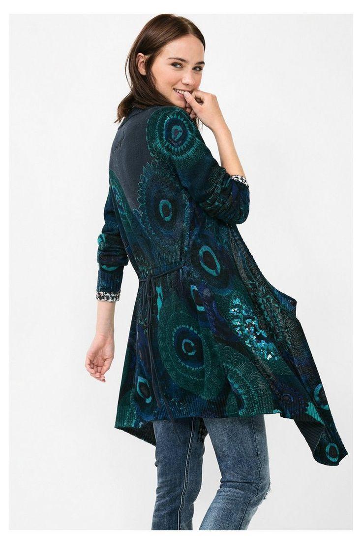 Cardigan blu con paillettes   Desigual.com 5000